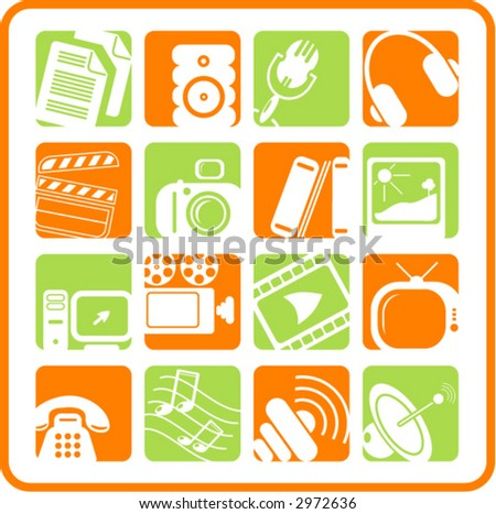 Miscellaneous multimedia icons - stock vector