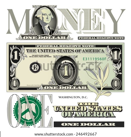 Miscellaneous one dollar bill elements - stock vector