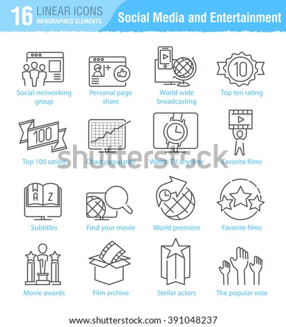 Miscellaneous social media and entertainment vector thin line icons set for TV infographics and mobile UX/UI - stock vector