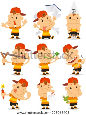 mischievous Bad student set cartoon illustrations - stock vector