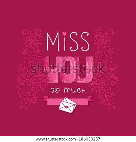 Miss you card - stock vector