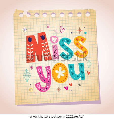 Miss you note paper cartoon illustration - stock vector
