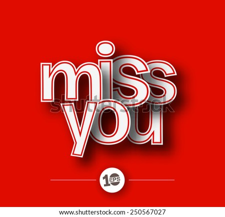 Miss you text made of 3d vector design element. handwriting - stock vector