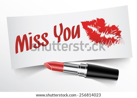 Miss You written on note by lipstick with kiss, vector - stock vector