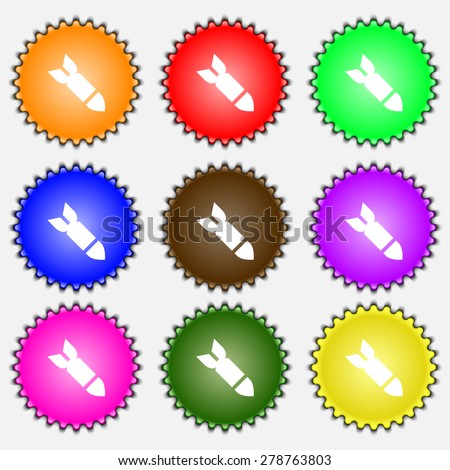 Missile,Rocket weapon  icon sign. A set of nine different colored labels. Vector illustration - stock vector