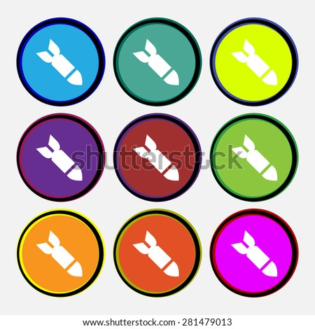 Missile, Rocket weapon  icon sign. Nine multi-colored round buttons. Vector illustration - stock vector