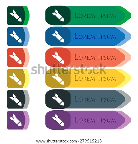 Missile,Rocket weapon  icon sign. Set of colorful, bright long buttons with additional small modules. Flat design. Vector - stock vector