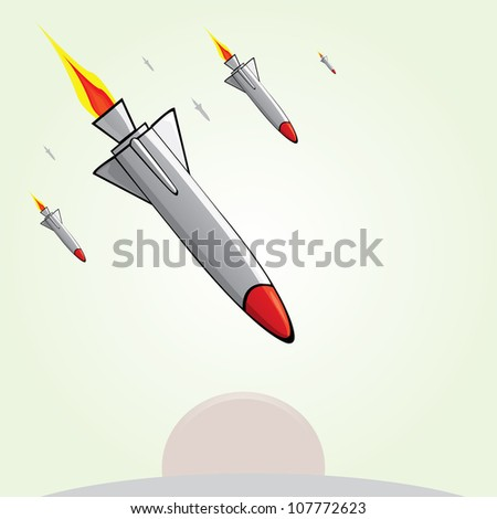 missiles fly to the ground. Vector illustration of war. - stock vector