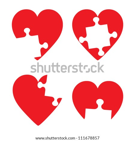 Missing hart piece illustration set - stock vector