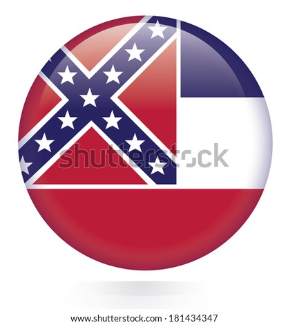 Mississippi flag button - stock vector