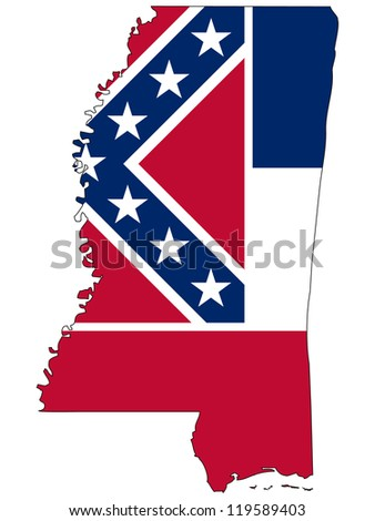 Mississippi vector map with the flag inside. - stock vector