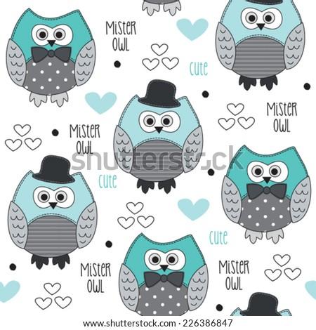 mister owl pattern vector illustration - stock vector