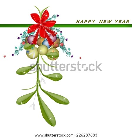 Mistletoe Bunch Hanging on A Red Bow with Christmas Ornaments on Greeting Card, Sign for Christmas Celebration.  - stock vector