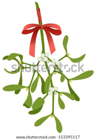 Mistletoe with red bow isolated on white background - stock vector