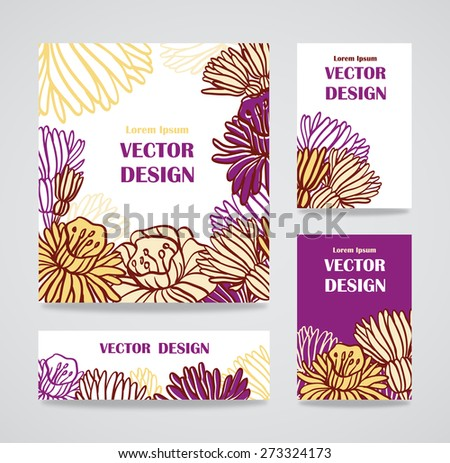 Mix collection floral banners and business cards - stock vector