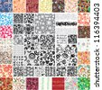 Mix Collection multicolored and monochrome seamless textures - stock vector