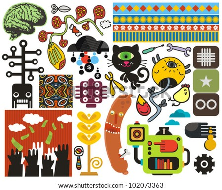 Mix of different vector images and icons. vol.50 - stock vector