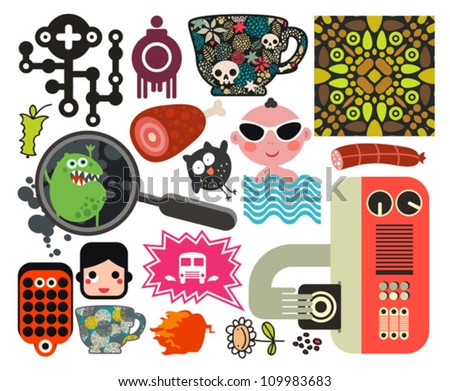 Mix of different vector images and icons. vol.59 - stock vector