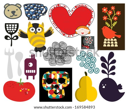 Mix of different vector images and icons. vol.71 - stock vector