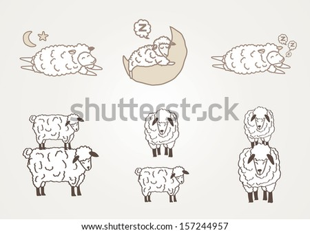 Mix vector sheep - stock vector