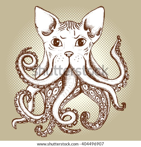 Mixed cat and octopus in vintage style, vector poster - stock vector