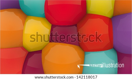 Mixed color fun background. You can change the color keeping 3d form. - stock vector