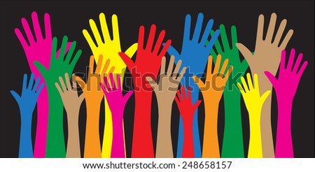 mixed colorful hands freedom diversity peace - stock vector
