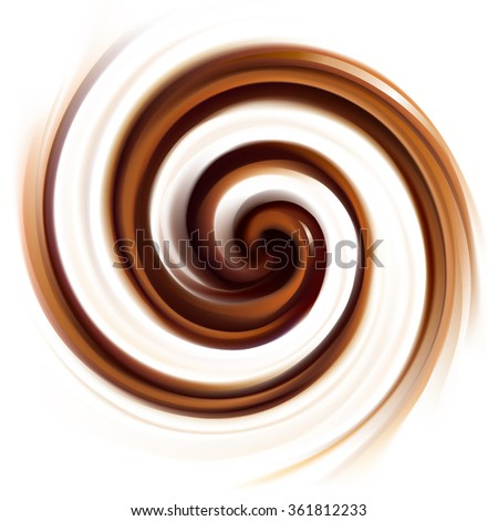 Mixed dark sepia curvy eddy ripple fond. Appetizing yummy volute fluid melt sweet choco cake surface with space for text on glowing vanilla milky white stripe - stock vector