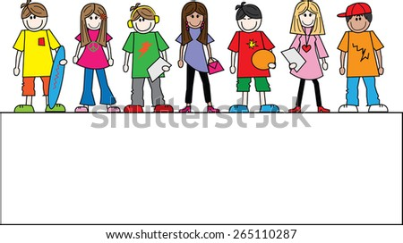 mixed ethnic young people header or banner - stock vector