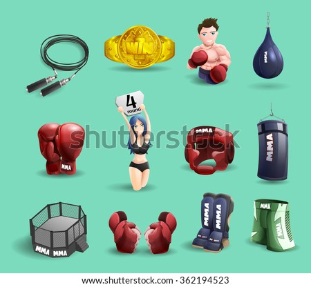 Mixed martial arts mma fighter ring cage equipment and accessories 3d pictograms set abstract isolated vector illustration - stock vector