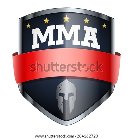 MMA Fights Shield badge. The symbol of the sports club or team. Vector Illustration isolated on white background. - stock vector