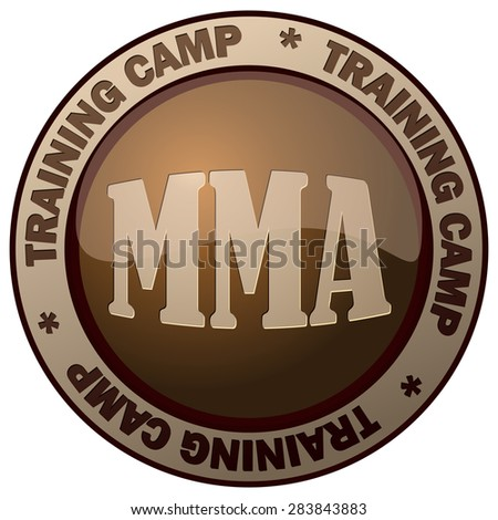 MMA Mixed Martial Arts Training Camp Round Brown Sing, Vector Illustration.  - stock vector
