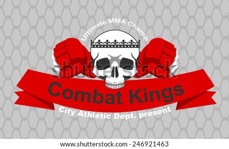 MMA team logo with scull - stock vector