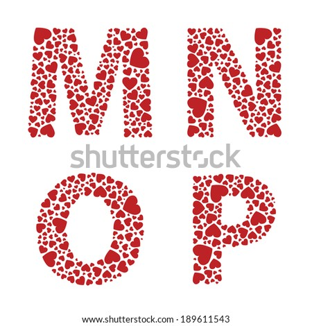 N Alphabet In Heart MNOP heart alphabet letters font - stock vector