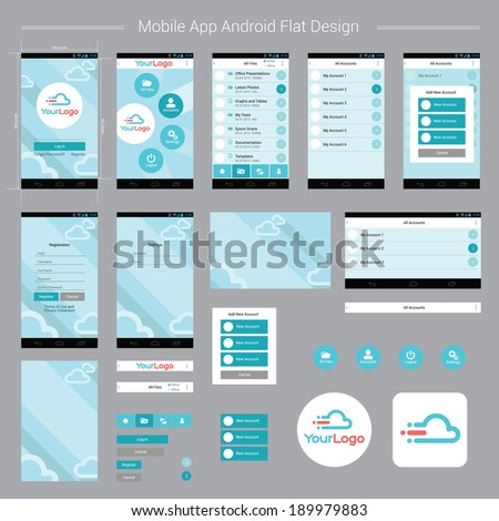 Mobile App Android Flat Interface. Easy-edit layered vector EPS10 file. - stock vector
