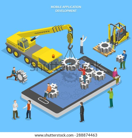 Mobile app development flat isometric vector conceptual illustration. People arrange gear on smartphone screen using crane and forklift. - stock vector