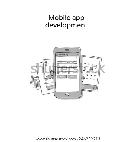 Mobile app development - hand drawn icon - stock vector