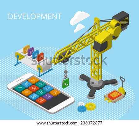 Mobile app development isometric illustration with smartphine, icons, crane and conveyor - stock vector