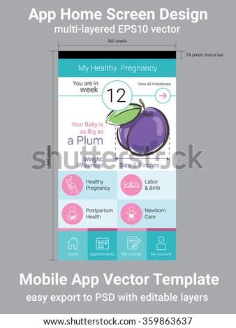 Mobile App Home Screen Vector Template - stock vector