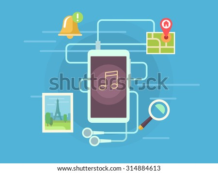 Mobile app. Navigation and photo, alarm and gallery, content and technology, web media on smartphone, flat vector illustration - stock vector