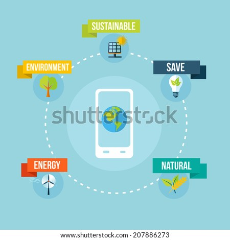 Mobile app technology and eco friendly concept illustration background. EPS10 vector file organized in layers for easy editing. - stock vector
