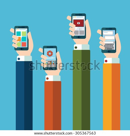 Mobile application concept. Hands holding phones. Eps10 - stock vector