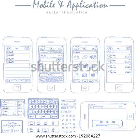 mobile application concept sketch drawing vector - stock vector
