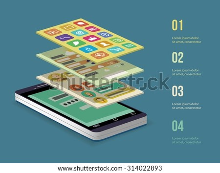 Mobile application concept. Smart  phone. Vector illustration. - stock vector