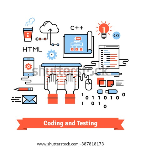 Mobile application design, development and coding process concept. Thin line art flat illustration with icons. - stock vector