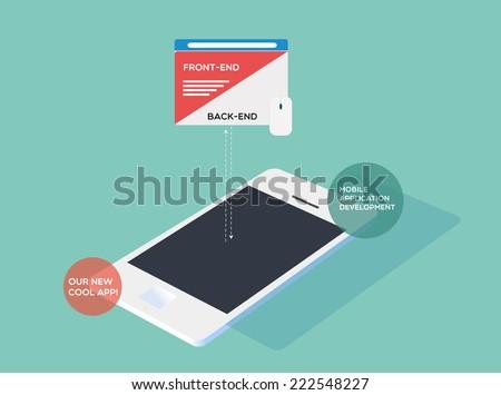 Mobile application development - stock vector