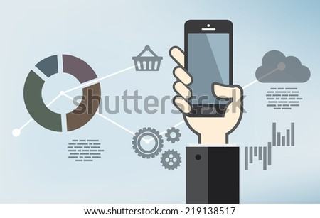 Mobile application development or smartphone app programming - flat design - stock vector