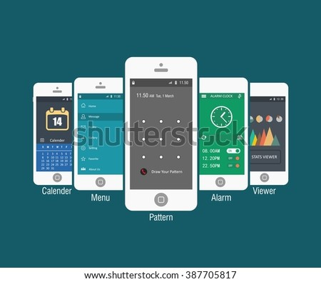 Mobile application interface concept. Vector Illustration, Android Flat Interface. Easy-edit vector EPS10 file. set of flat Application design. user profile. Business app design - stock vector