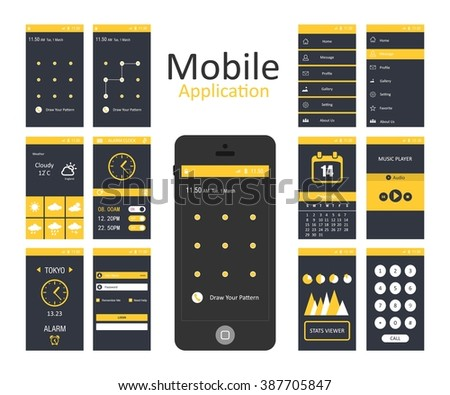 Mobile application interface concept. Vector Illustration, Android Flat Interface. Easy-edit vector EPS10 file. set of flat Application design. user profile. android launcher design - stock vector