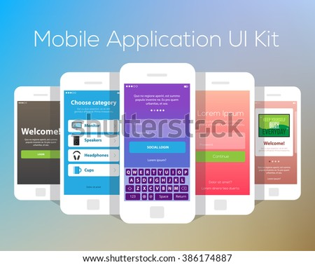 Mobile Application UI Kit Collection Set. Social login screen, choose category screen, welcome invitation screen, sign in screen, tutorial screen. - stock vector